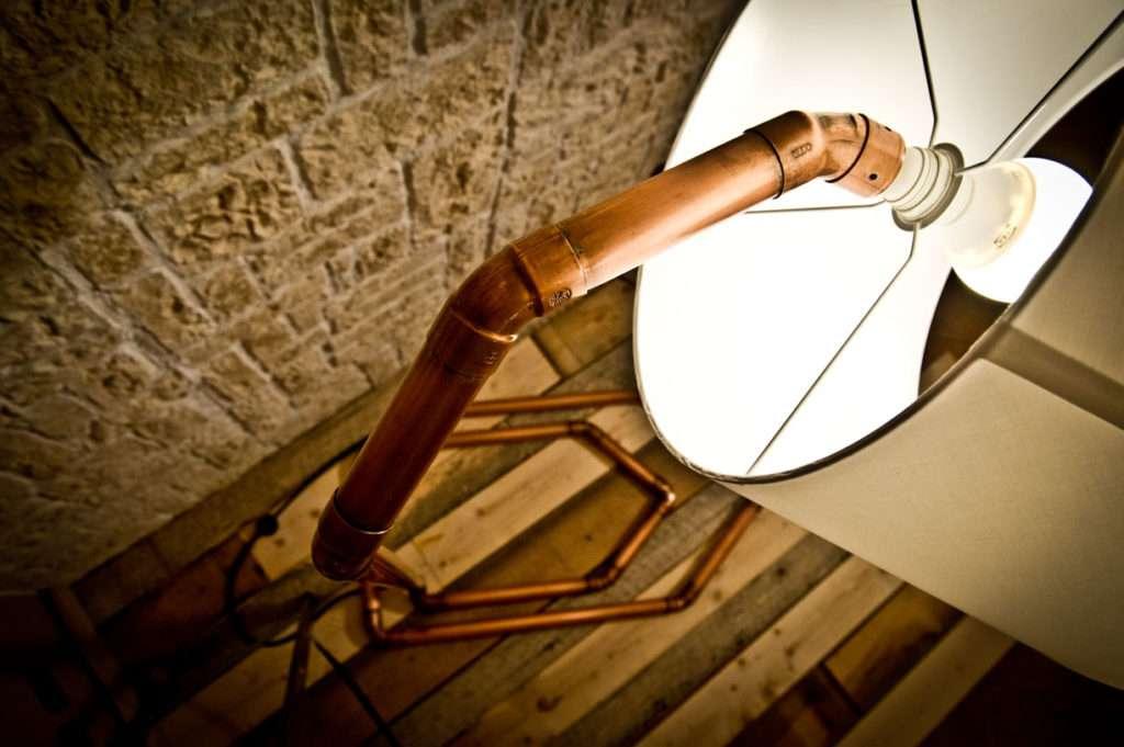 lampada, lampada in rame, fatta a mano, creazioni design