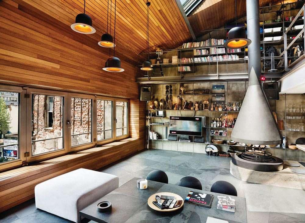arredare loft con soppalco con elementi verticali