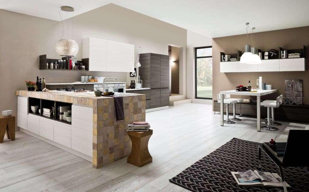 cucine moderne in muratura con arredi di design