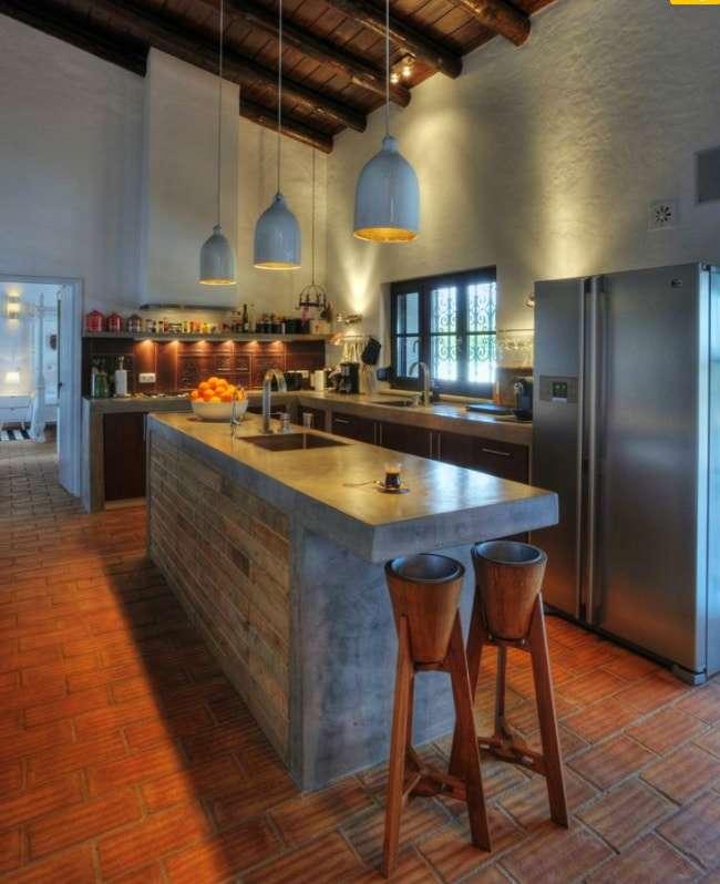 cucine in muratura moderne con superfici continue