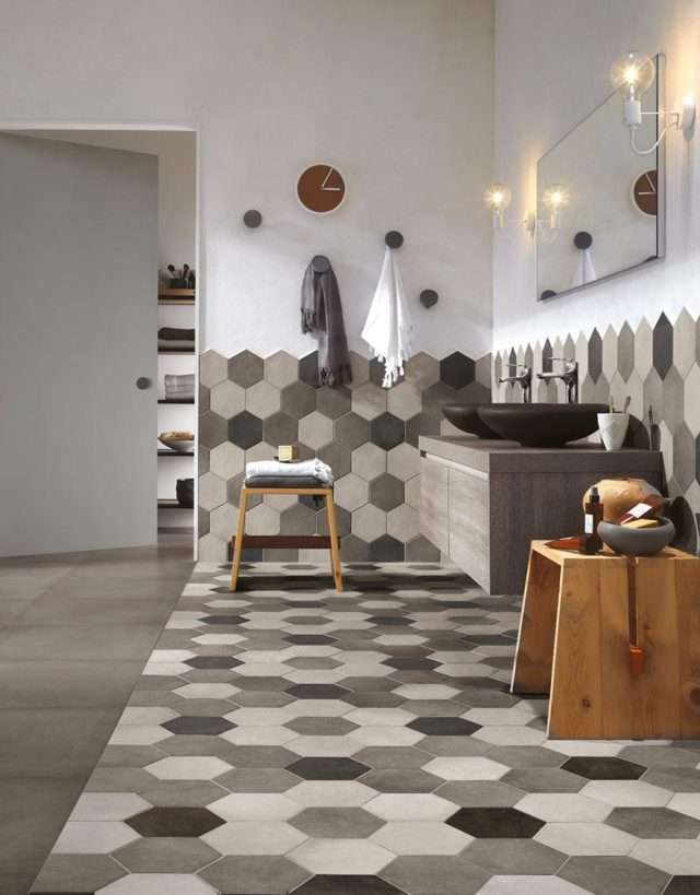 piastrelle geometriche esagonali grigio