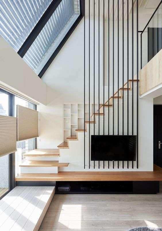 scale moderne per interni con ringhiera verticale