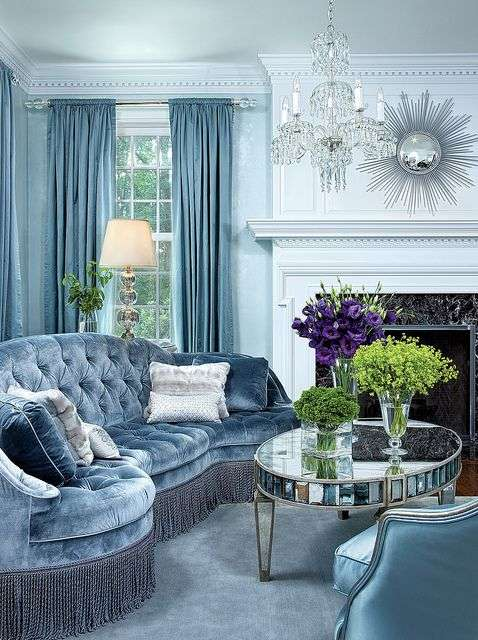 soggiorno azzurro sontuoso