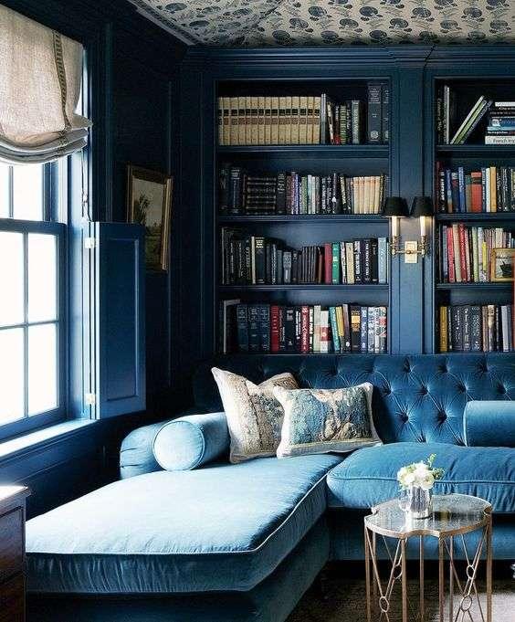 soggiorno libreria azzurro