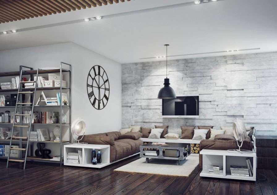 pareti attrezzate in stile industriale