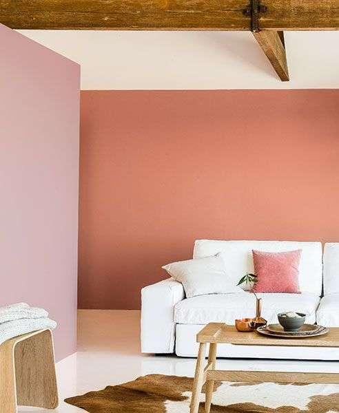 colori pareti soggiorno rosa aragosta