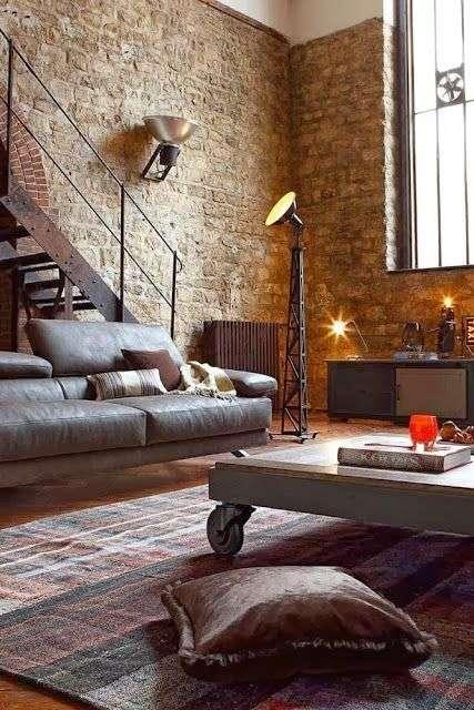 divano in stile industriale lineare grigio