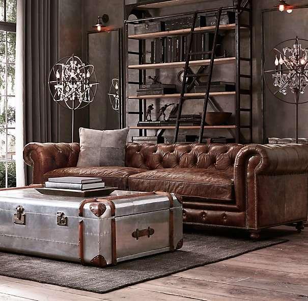 divano stile industriale tipo chesterfield