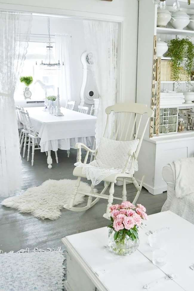 soggiorno bianco mobili shabby