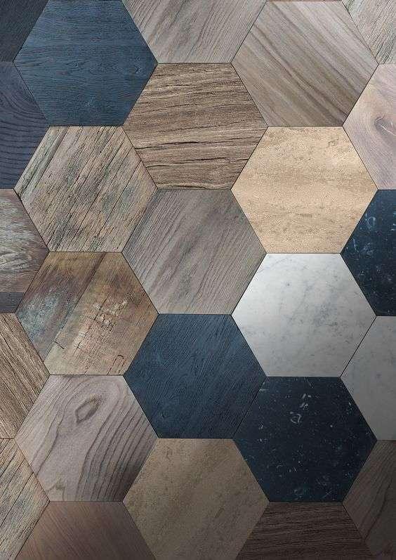 legno esagonale pavimenti