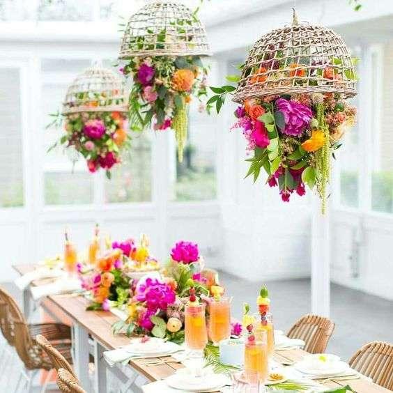 composizioni floreali lampadario