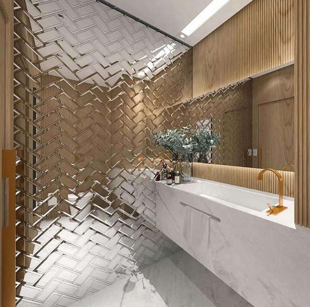 idee rivestimento bagno tridimensionali a specchio