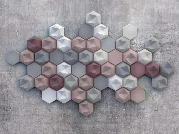 idee rivestimento bagno tridimensionali colorate