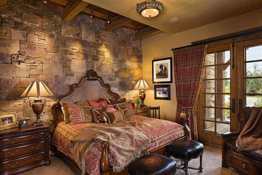 pareti in pietra camera da letto classica