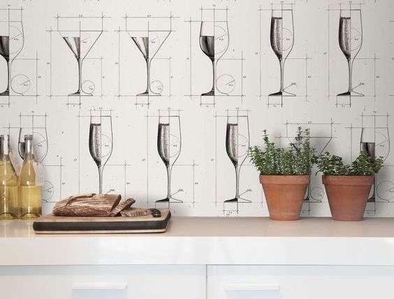 carta da parati per la cucina con calici di vino