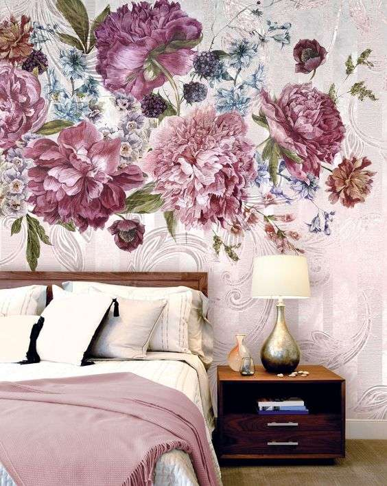 carta da parati per la camera da letto con fiori rosa