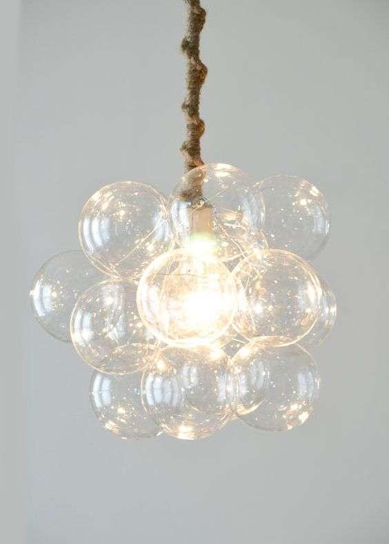 lampadario in vetro soffiato trasparente