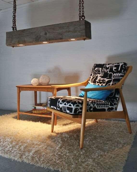 lampadari in legno naturalele con faretti led