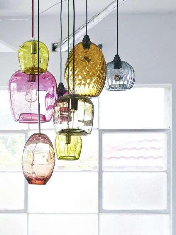 lampadario vintage in vetro