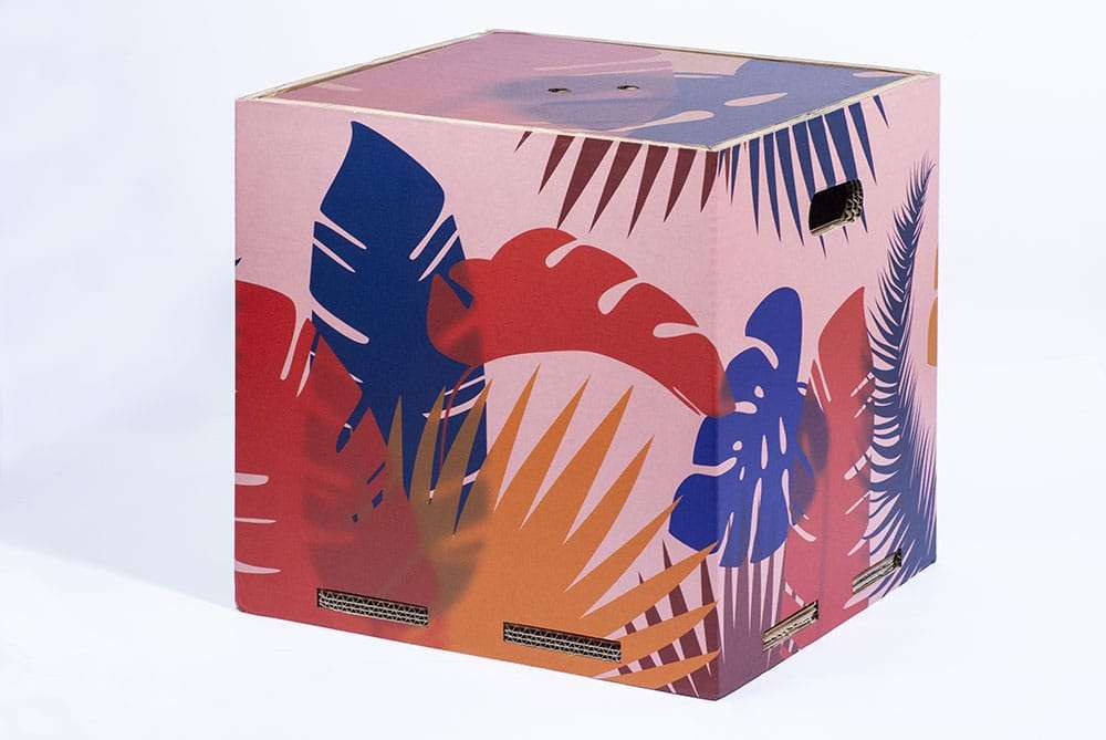 pouf e contenitore in cartone rippotai