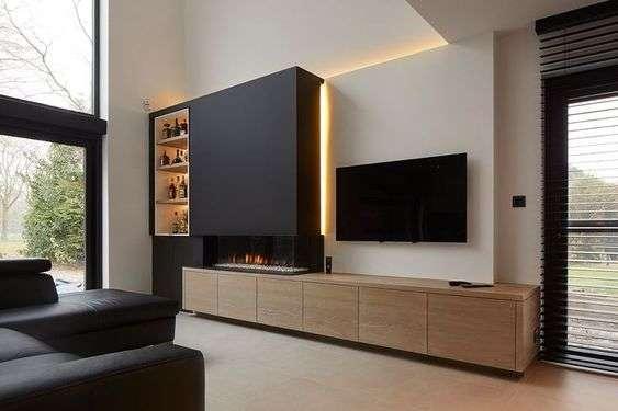 Arredamento soggiorno moderno con il camino
