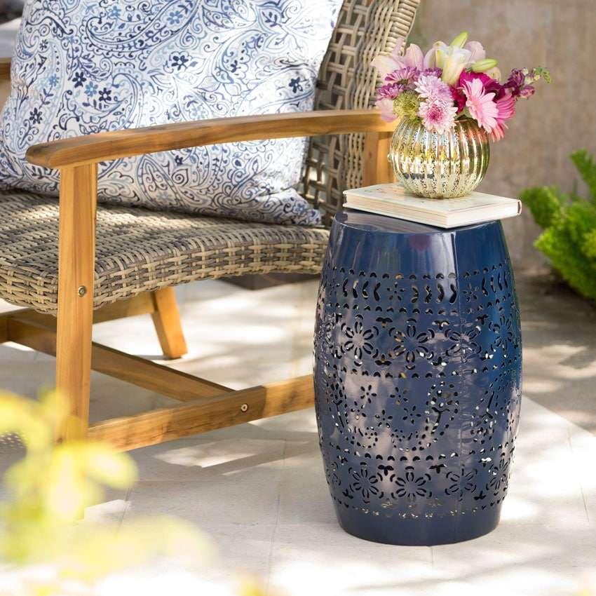 tavolini in ferro da giardino a forma di botte