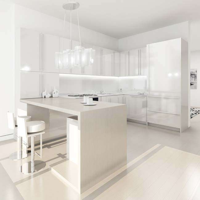 cucina illuminata con strisce led