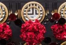 tavola per capodanno oro e rosso